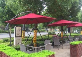江宁翠屏城售楼处商业街法式蓬伞桌椅遮阳雨蓬