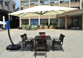 户外庭院铝制桌椅 铸铝户外家具 户外太阳伞