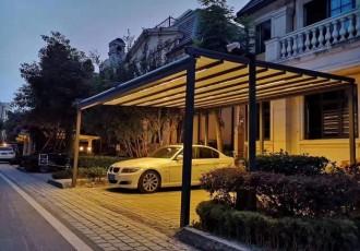 户外防雨天幕蓬 带灯顶棚 电动折叠遮阳棚led灯